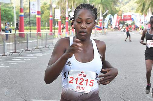 Shanise Gordon of GC Foster College on her way to victory in the women's categoty of the CB Group UWI 5K run.